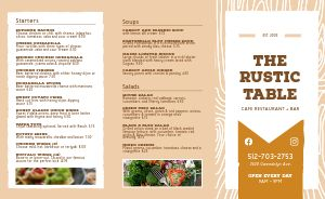 Simple Rustic Cafe Takeout Menu