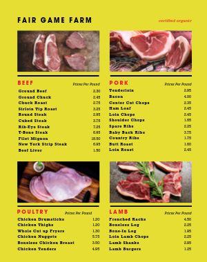 Organic Meat Farmers Market Menu Poster