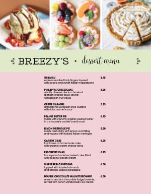 Specialty Dessert Menu