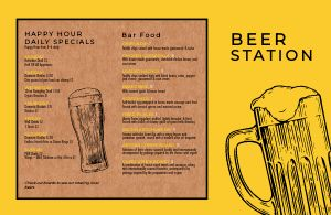 Folded Beer Menu Example