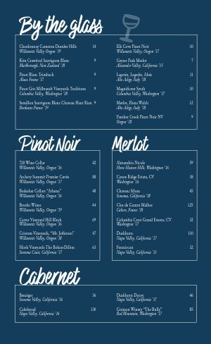 Blue Wine List Menu