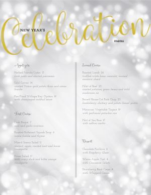 New Years Celebratory Menu