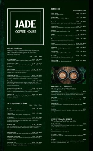 Jade Coffee Menu
