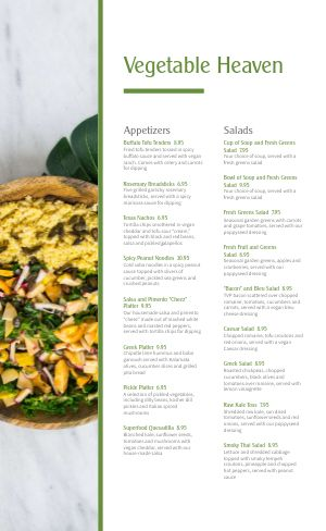 Authentic Vegan Menu