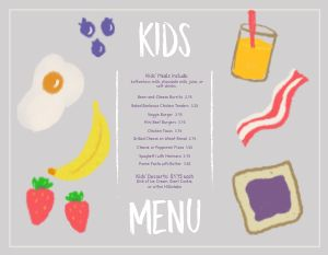 Colorful Breakfast Kids Menu