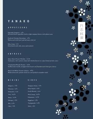 Japanese Cherry Blossom Menu