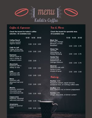 Coffee Espresso Menu