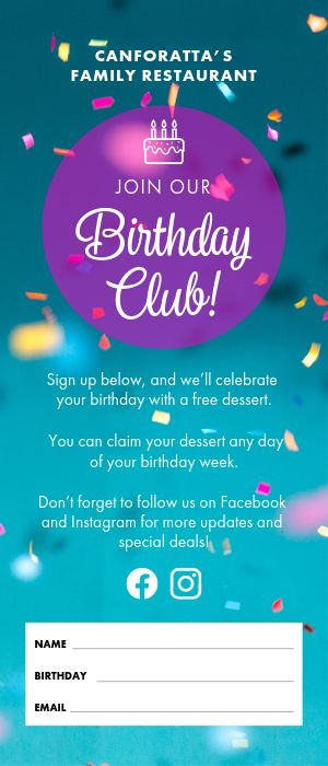 Birthday Club Rack Card