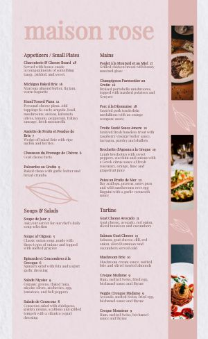 Pink French Menu