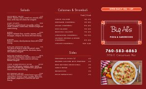 Authentic Pizza Takeout Menu
