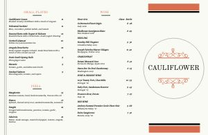 Example Fine Dining Folded Menu