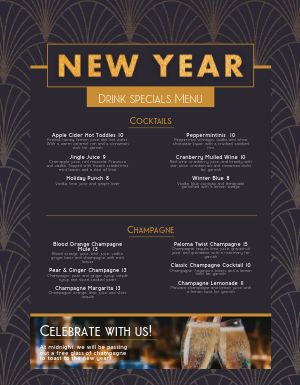 New Years Fancy Drink Menu