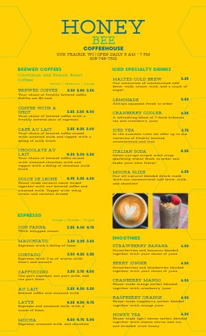 Coffee Honey Menu