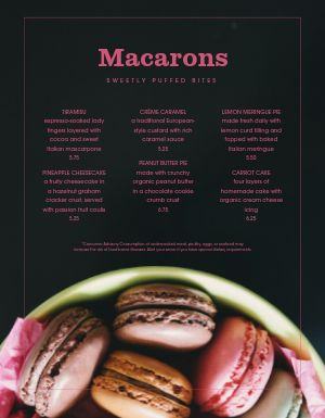Cafe Sweets Menu