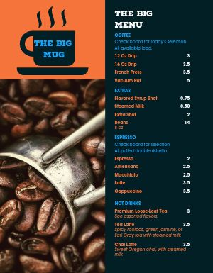 Dark Roast Coffee Menu
