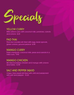 Thai Specials Menu
