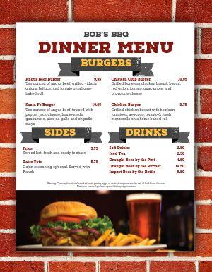BBQ Burger Menu