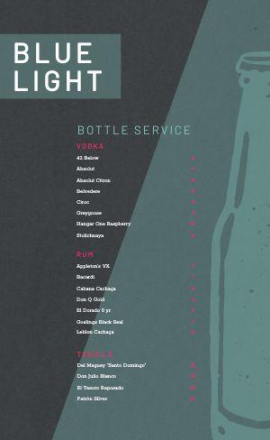Bottle Service Drink Menu