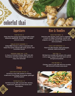 Colorful Thai Menu