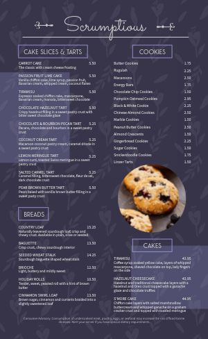 Muffin Bakery Menu