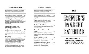 Casual Catering Takeout Menu