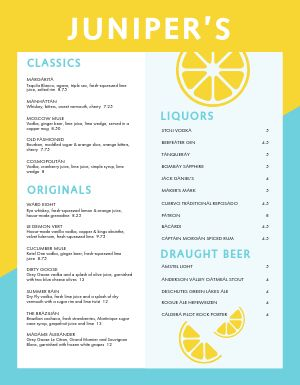Gin Bar Menu