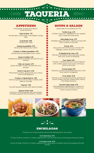 Mexican Family Menu