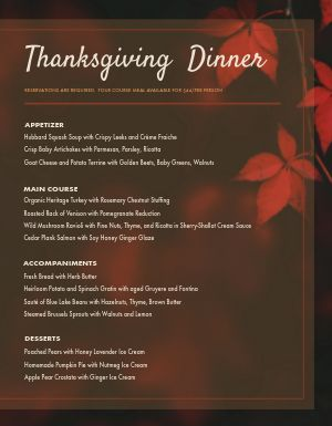 Thanksgiving Autumn Menu