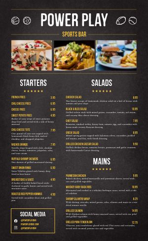 Sports Bar Dine In Menu