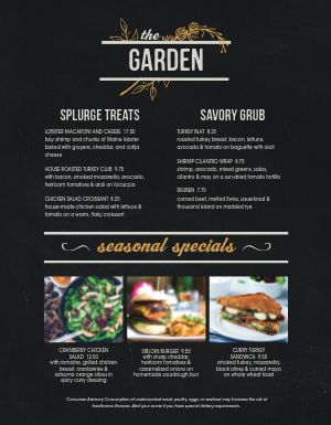 Cafe Garden Menu