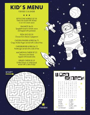 Space Kids Menu