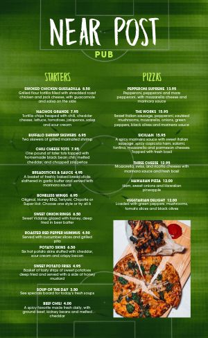 Soccer Sports Bar Menu