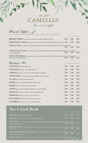 Upscale Coffeehouse Menu
