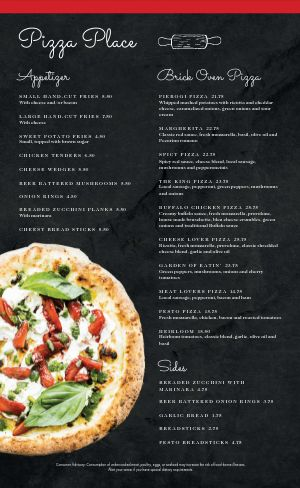 Delicious Pizza Menu