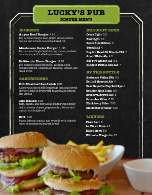 Food First Pub Menu