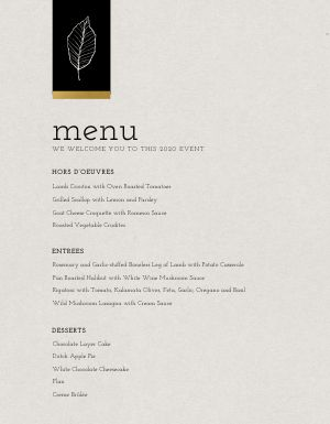 Private Event Menu Example