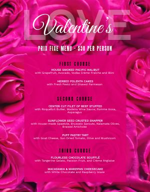 Valentines Day Petals Menu