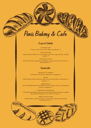 French Bakery A4 Menu
