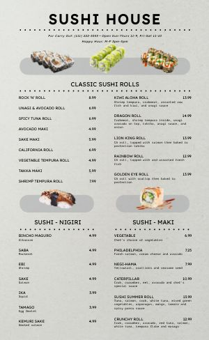 Simple Sushi Japanese Menu