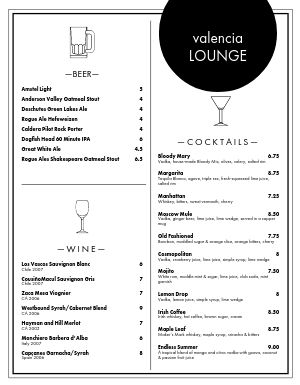 White Bar Menu