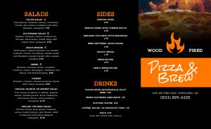 Pizza Beer Takeout Menu