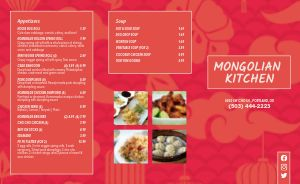 Mongolian Chinese Takeout Menu