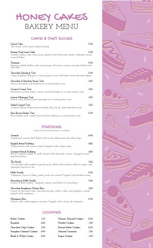 Cake Bakery Menu