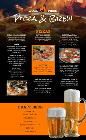 Pizza Beer Menu