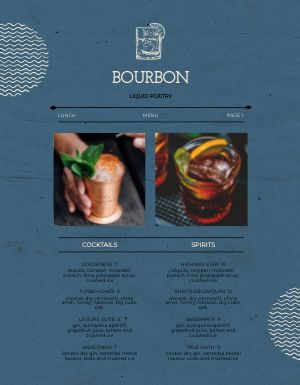Bar Bourbon Menu