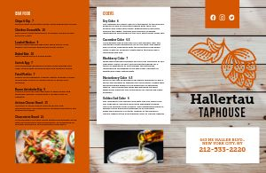 Taphouse Beer Folded Menu