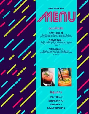 Colorful Bar Menu