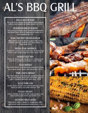 Outdoor Grill BBQ Menu