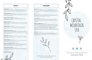 Light Blue Spa Folded Menu