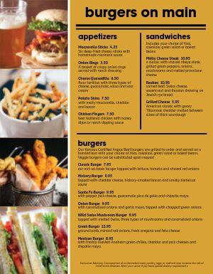 Hamburger Restaurant Photo Menu